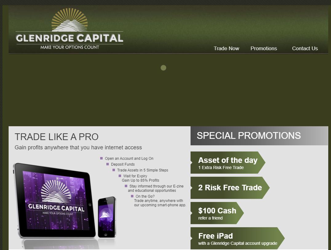 Glenridge capital binary options login betting record appraisal vt